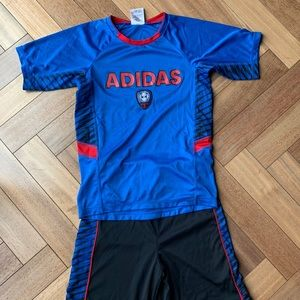 Adidas Boys Soccer Set size 7 Shorts and Tee
